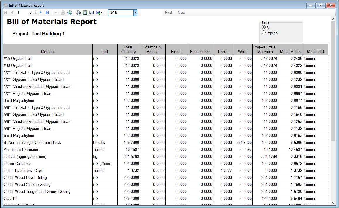 Report table bill of materials the bill of materials table shows the total amount of all building materials resulting from the construction of the project building in either imperial or altavistaventures Gallery