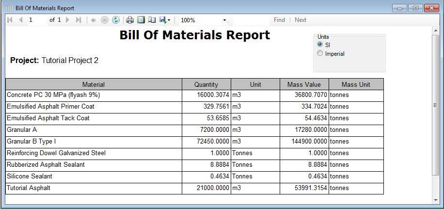 Report  Table  Bill Of Materials